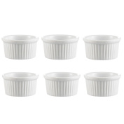 Professional Ramekins Bakeware, 120ml Souffle Cups Dishes Fine White (Set of 6) Easy to Clean Oven Safe
