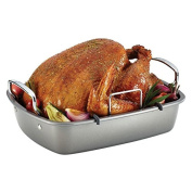 Classic Kitchen Grey Rectangular Non Stick Roaster Turkey Grill Pan with U Rack