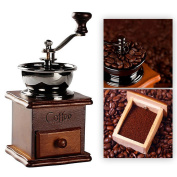 TOOL GADGET Cute Functional Coffee Grinder Decor, Small Manual Coffee Grinding Machine, Classic European Ancient mill grinder Decoration, Wood and Metal Material