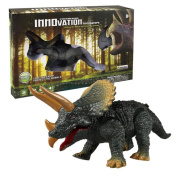 Needra Walking Remote Control Dinosaur Triceratops Toy Model Light Sound Action Figure