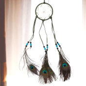 YiZYiF Hand Crafted Handmade Dream Catcher Net With Feathers Wall Hanging Decorations Rainbow Dreamcatcher Green One Size