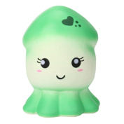 JoyJay Soft Squishy Toy Squeeze Squid Squishy Slow Rising Cream Scented Decompression Toys Green