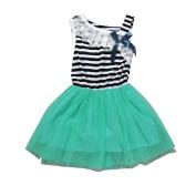 WINWINTOM Girls Dreesses Tutu Dress Baby Girls Striped Clothing Bowknot Sleeveless Dress Princess Party Kids Clothes