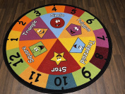 Non Slip Kids Number Shape Mat/Rug 133cm x 133cm Cirle Hours Of Fun Ideal for Nursery Or School Environment