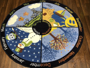 Non Slip Kids Four Seasons Mat/Rug 133cm x 133cm Circle Hours Of Fun Ideal for Nursery Or School Environment