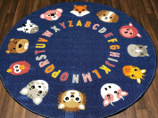 Non Slip Kids Navy ABC Animals Mat/Rug 133cm x 133cm Cirle Hours Of Fun Ideal for Nursery Or School Environment