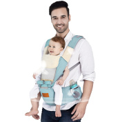 Baby Carrier, 6 Positions All Seasons Breathable 360 Ergonomic Hip Seat with Removal Hoodie and Bibs 3 Convenient Pockets 100% Cotton Adapt to Growing Baby