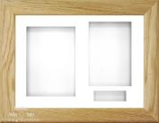 BabyRice 29cm x 22cm Solid Oak Wood 3D Display Frame / White 3 hole mount & Backing