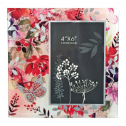 "Just Contempo ""Blush Florals and Butterfly"" Glass Photo Frame, Pink"