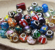 KOTiger 50 pcs DIY Accessories Glass European Mix Beads for Compatible with Most Major Charm Bracelets