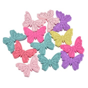 JuneJour Random Colours Butterfly Shaped Wood Wooden Charm Beads for Jewellery Making Pack of 50pcs