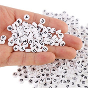 Vikenner 200 Pcs White Round Letters Beads Spacer Acrylic Plastic Alphabet Beads for Jewellery Bracelets Necklaces and Card Making - 7mm