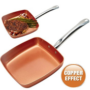 24CM GRILL FRYING PAN COPPER BBQ NON STICK ALUMINIUM INDUCTION KITCHEN CERAMIC