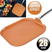 28CM GRILL FRYING PAN COPPER BBQ NON STICK ALUMINIUM INDUCTION KITCHEN CERAMIC