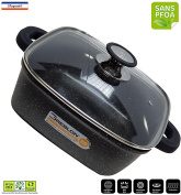From the Kitchen Table 'cflagrant Pot Square 20 x 20 cm with Lid Suitable for all Heat Sources including Induction PFOA Free Fat Free Cooking German GREBLON C3 + Coating Technology