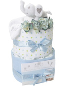 2 Tier Nappy Cake Baby Boy Baby Shower Gift Baby Moi Elephant Swaddle Newborn FREE UK DELIVERY