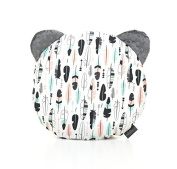 Milutka baby BEAR shaped PILLOW 35cm MINKY fabric cotton FEATHER graphite