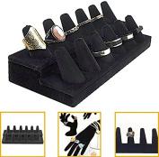 Adorox Black Velvet Finger Ring Showcase Display Jewellery Organiser Stand