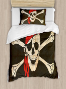 Pirate Duvet Cover Set Twin Size by Ambesonne, Flag of Tierra del Fuego Argentina in Grunge Antique Historical, Decorative 2 Piece Bedding Set with 1 Pillow Sham, Army Green Beige Vermilion