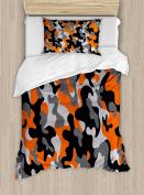 Camo Duvet Cover Set Twin Size by Ambesonne, Vibrant Artistic Camouflage Lattice Like Military Service Combat Theme Modern, Decorative 2 Piece Bedding Set with 1 Pillow Sham, Orange Grey Black