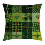Irish Throw Pillow Cushion Cover by Ambesonne, Patchwork Style St. Patrick's Day Themed Celtic Quilt Cultural Chequered with Clovers, Decorative Square Accent Pillow Case, 46cm X 46cm , Multicolor