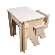 Children's Desk and Chair Set. No-tool, DIY assembly. Natural, unfinished plywood. Kid safe, smooth, sanded wood finish. High-grade, non-toxic materials. Made in USA
