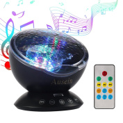 Remote Control Ocean Wave Projector, Ausein 12 LED & 7 Colour Modes Aurora Colour Changing Night Light Projector Baby Soother Built in Relaxing Music Player for Kids Bedroom Living Room with Timer
