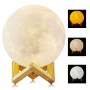 5.9 Inch 15cm 3D Printed Moon Light, ALED LIGHT Diameter Lunar Night Light Lamp Dimmable 3 Colour Selectable Bedroom Decor USB Charging Mood Light for Bedroom Cafe Bar Dinning Room Valentine's Day