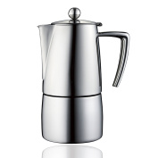 Minos Moka Pot 4-Cup Espresso Maker - Stainless Steel And Heatproof Handle - Classy and Elegant Design - Suitable for Gas, Electric And Ceramic Stovetops