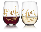 Bride & Groom Engagement/Wedding Gift Stemless Wine Glasses (2-Glasses) 590ml by Fine Occasion in Gold Writing