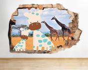 M994 Giraffes Safari Nursery Baby Smashed Wall Decal 3D Art Stickers Vinyl Room (Medium