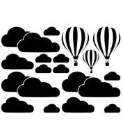 little finger White Cloud Hot Air Balloons Nursery Waterproof Wall Sticker Decal for Kids Room size 80cm x 60cm
