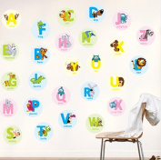 Panlom® Alphabet Animal Wall Stickers Art Decals Fun ABC Letters Education Supplies for Home Decoration Kids Room Gift