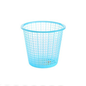 CWAIXX Plastic hollow out small trash trash home living room kitchen bathroom Office waste-paper basket paper basket without cover , Small blue