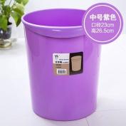 CWAIXX Trash home living room kitchen bathroom Queen mini plastic trash trash basket without cover , Solid colour medium purple