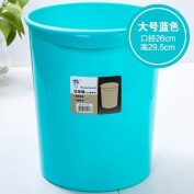 CWAIXX Trash home living room kitchen bathroom Queen mini plastic trash trash basket without cover , King size blue solid colour