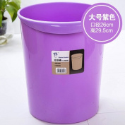 CWAIXX Trash home living room kitchen bathroom Queen mini plastic trash trash basket without cover , Solid colour large purple