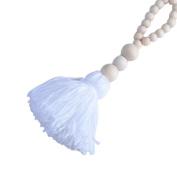 1PC Nordic Style Lovely Wood Beads Tassels Decorative Handmade Crafts for Nurseryroom Girls Room Princess Style Decor-White