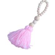 1PC Nordic Style Lovely Wood Beads Tassels Decorative Handmade Crafts for Nurseryroom Girls Room Princess Style Decor-
