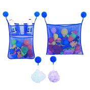 Wicemoon Bathroom Mesh Net Bag Baby Bath Toys Storage Bag Wall Hanging Bag with Strong Sucker Multi-purpose Wash Bag Kitchen Sundries Bag