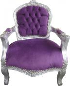 Casa Padrino Baroque Children's Chair Purple / Silver - Children's furniture