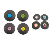 Set of Retro Vinyl Record Place Mats and Coasters - Novelty Tableware