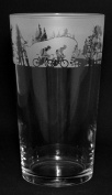 CYCLING GIFT ~ Boxed PINT BEER GLASS with CYCLING SCENE Frieze
