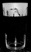 RUGBY GIFT ~ Boxed PINT BEER GLASS with RUGBY SCENE Frieze