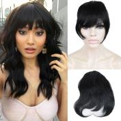 ZanaWigs Brazilian Human Hair Clip in Bangs Full Fringe Short Straight Hair Extension for Women