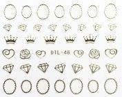 Nail Art 3D Decal Stickers Diamond - DTL048 Nail Sticker Tattoo - FashionLife