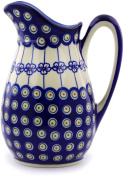 Polish Pottery 6 cups Pitcher (Flowering Peacock Theme) + Certificate of Authenticity