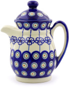 Polish Pottery 410ml Pitcher with Lid (Flowering Peacock Theme) + Certificate of Authenticity