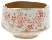 Kotobuki Matcha Chawan Japanese Tea Bowl, White with Black Zen Brush Design