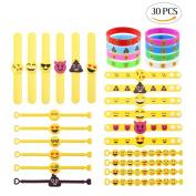 LOKIPA Rubber Emoji Bracelets Slap Wristband Novelty Toys for Kids Birthday Party Emoji Party Supplies Classroom Rewords, 30pcs in 5 styles
